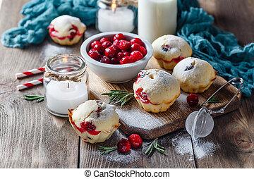 muffins, com, arandos vermelhos, e, chocolate