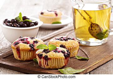 muffins, com, groselha preta