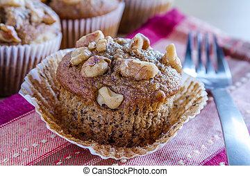 muffins, graine, chia, banane, noix