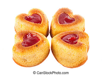 Muffins in a heart shape