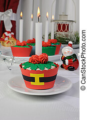 Muffins in the form of a Christmas flower