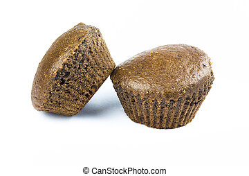 Muffins on white background