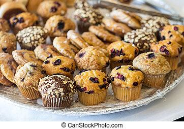 muffins, sobremesa, prato