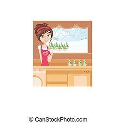 muffins, stijl, bakken, meisje, kerstmis