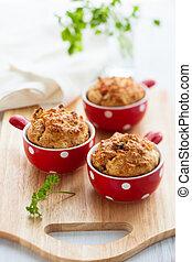 muffins, szynka, ser, pomidor