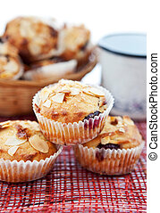 Muffins with almonds and cherries - Almonds and cherries...