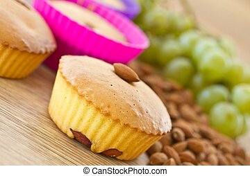 muffins with almonds and fruit