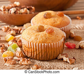 Muffins with nuts and raisins