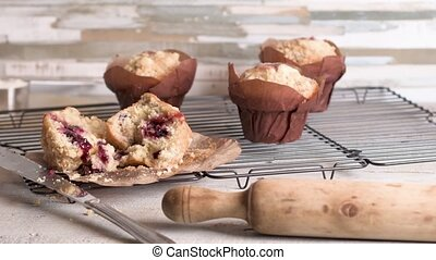 Muffins with red fruits jam fill. - Muffins with red fruits...
