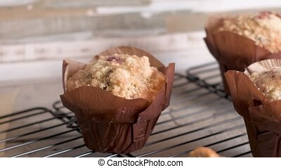 Muffins with red fruits jam fill.
