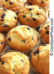 Muffins - Yellow chocolate chip muffins on white background