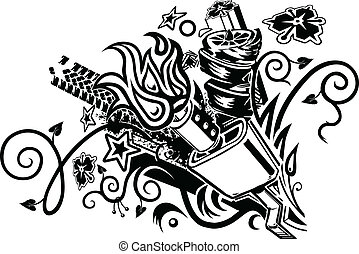 muffler explosion tattoo - An eclectic tattoo-like graphic...