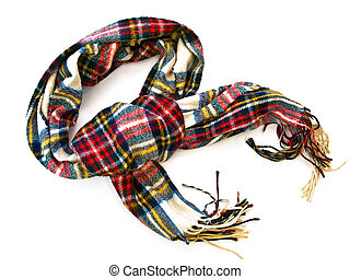 muffler - chequered wool scarf over the white background