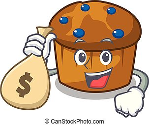 mufin, お金, 特徴, 漫画, 袋, ブルーベリー