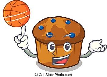mufin, バスケットボール, 特徴, 漫画, ブルーベリー