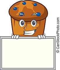 mufin, 特徴, 漫画, にっこり笑う, 板, ブルーベリー