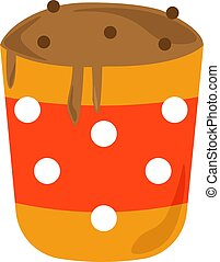 Mug cake, illustration, vector on white background.