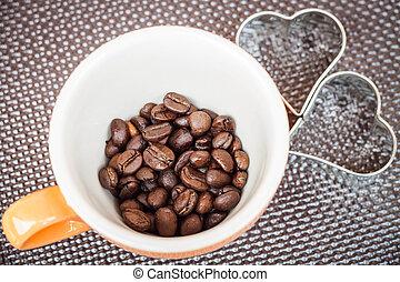 Mug cup of coffee grain on a grunge background