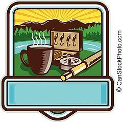 Mug Fly Tackle Bait Box Rod Reel Crest Woodcut