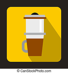 Mug for coffee icon, flat style
