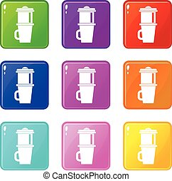 Mug for coffee icons 9 set