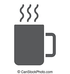 Mug glyph icon, kitchen and drink, coffee sign vector graphics, a solid pattern on a white background, eps 10.