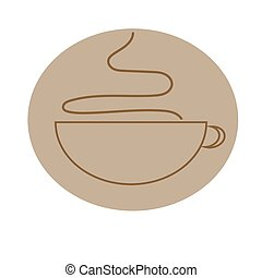 Mug icon with sweet coffee or other hot beverage. Vector - ...