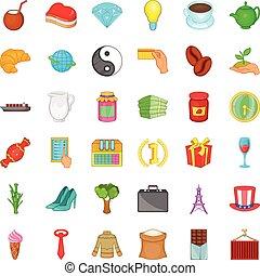 Mug icons set, cartoon style