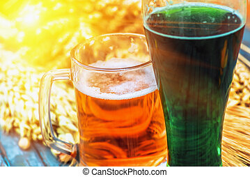 Mug light beer, green Irish beer in Patricks Day