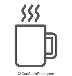 Mug line icon, kitchen and drink, coffee sign vector graphics, a linear pattern on a white background, eps 10.