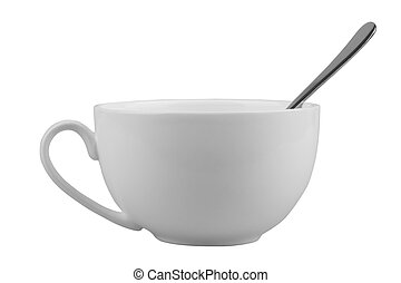 Mug for tea or coffee with spoon isolated on white background