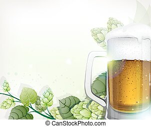 Mug of beer and hops branch