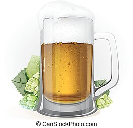 Mug of beer and hops with leaves