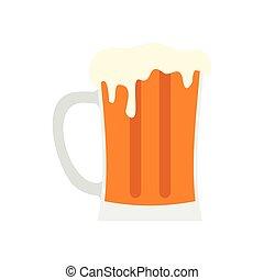 Mug of beer icon, flat style
