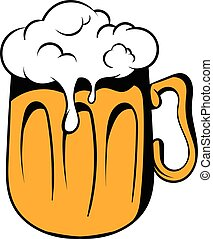 Mug of beer icon, icon cartoon