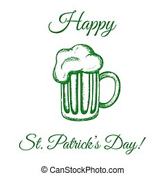 Mug of beer in green