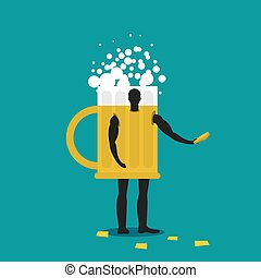 Mug of beer mascot man promoter. Male in suit drinking tankard distributes flyers. Puppets engaged in advertising goods