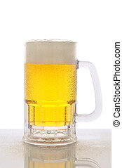 Mug of Beer on Wet Counter Top - A cold frosty mug of beer...