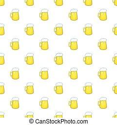 Mug of beer pattern, cartoon style