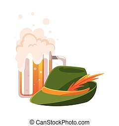 mug of beer with german hunting hat in white background