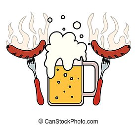 mug of beer with grilled sausage in white background