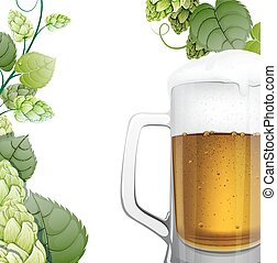 Mug of beer with hops branch