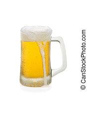 Mug of Beer With Overflowing Foam Top