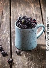 Mug of blueberries