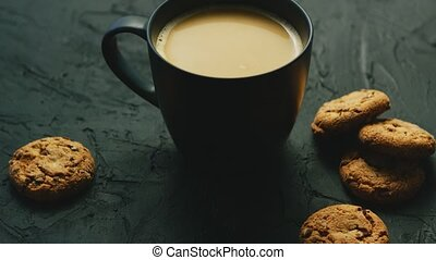 Mug of cocoa and cookies