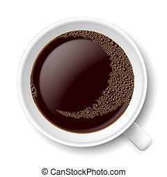 Mug of coffee. Top view illustration on white background