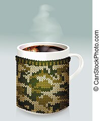 Mug of coffee in the men