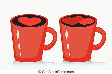 Mug of coffee or tea with heart, vector illustration.