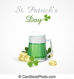 Mug Of Green Beer For St Patrick's Day.