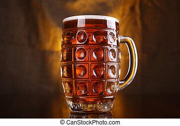 Mug of light beer - Classic mug with light beer with a warm...